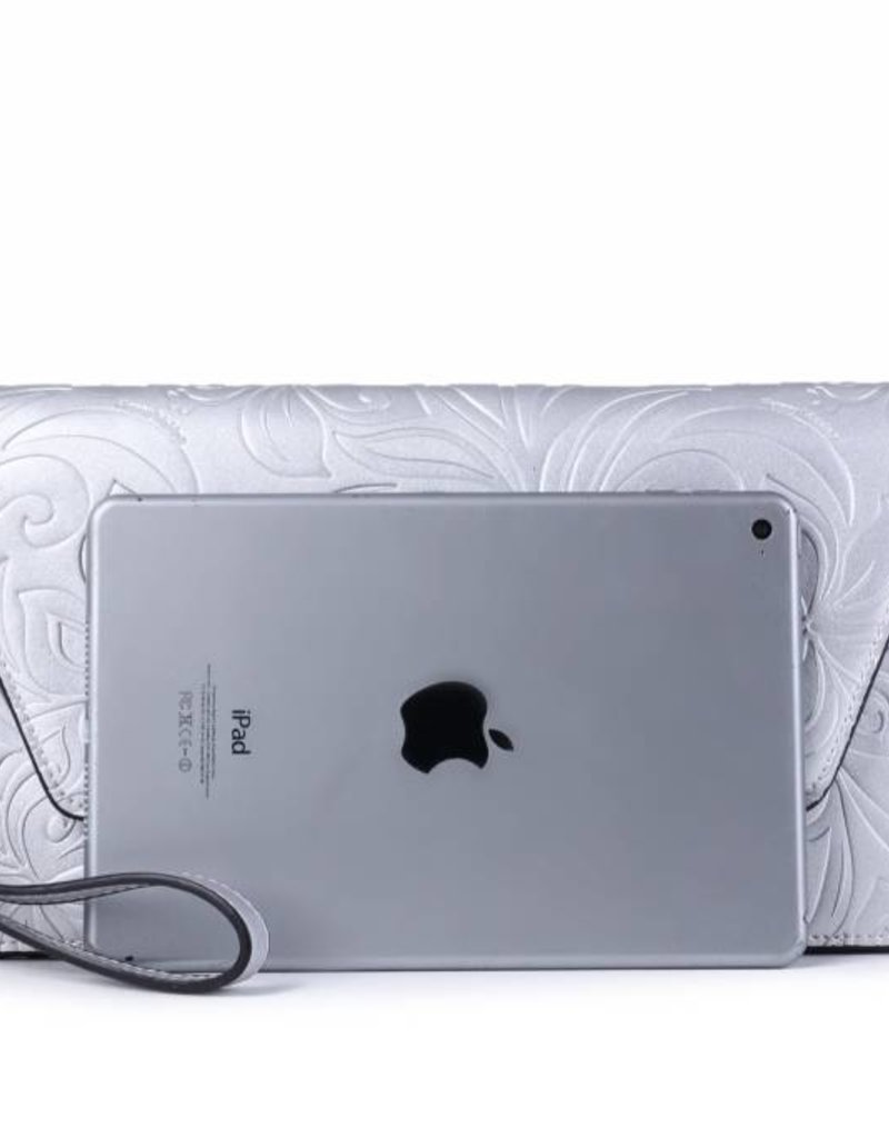 Clutch Victoria Hibiscus Silver Embossed