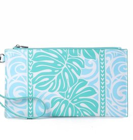 Happy Wahine Wristlet Joanne Monstera Blue
