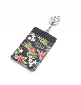 Happy Wahine Card Case April Vintage Pineapple Black