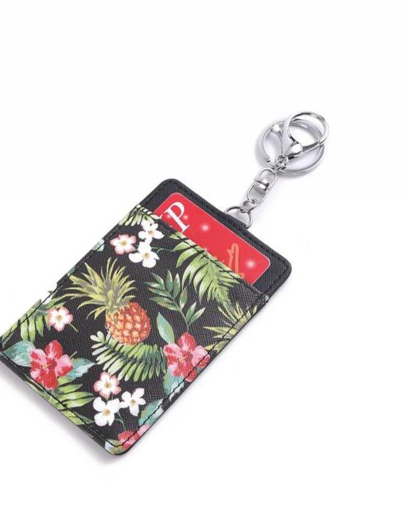 Happy Wahine Card Case April Vintage Pineapple Black
