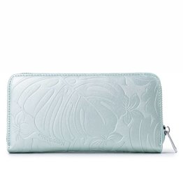 Happy Wahine Wallet Kaylee Monstera Orchid Green Met Emb