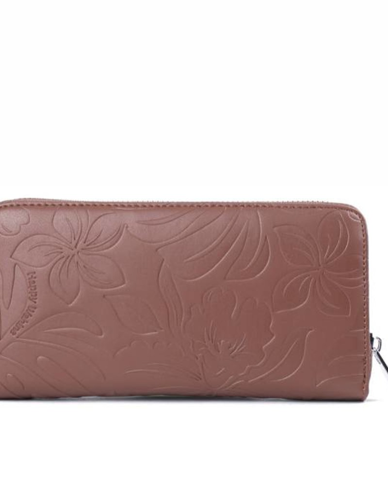 Happy Wahine Wallet Kaylee Monstera Orchid Brown Emb