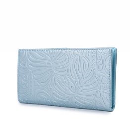 Happy Wahine Wallet Teyla Monstera Light Blue Met Emb