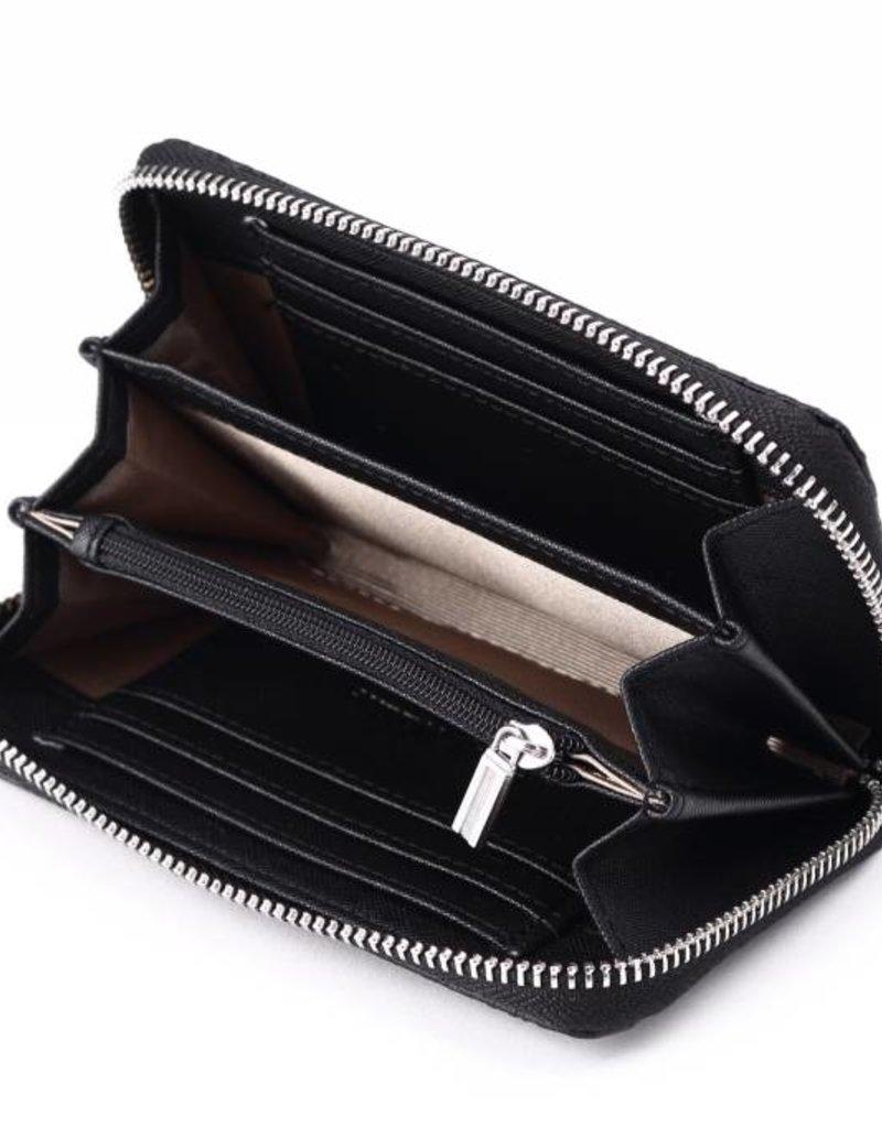 Happy Wahine Wallet Chloe Tapa Tiare Black Emb