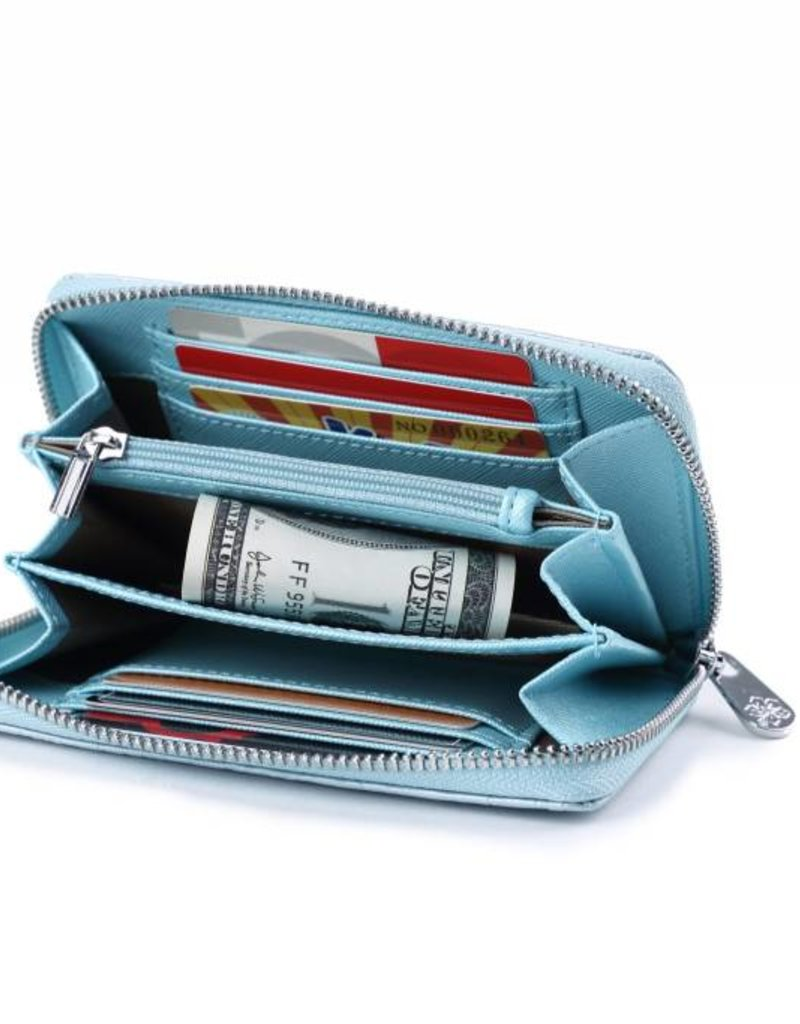 Happy Wahine Wallet Chloe Monstera Light Blue Met Emb