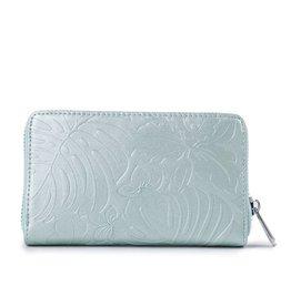 Happy Wahine Wallet Chloe Monstera Orchid Green Met Emb