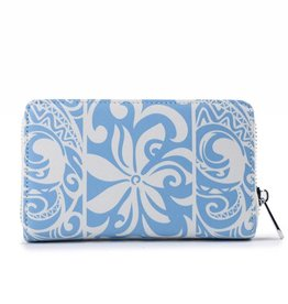 Happy Wahine Wallet Chloe Tapa Tiare Light Blue