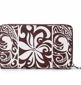 Happy Wahine Wallet Chloe Tapa Tiare Brown