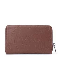 Happy Wahine Wallet Chloe Monstera Orchid Brown Emb