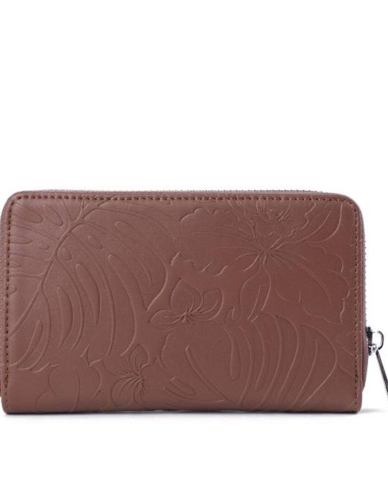 Happy Wahine Wallet Chloe Monstera Orchid Brown Emb