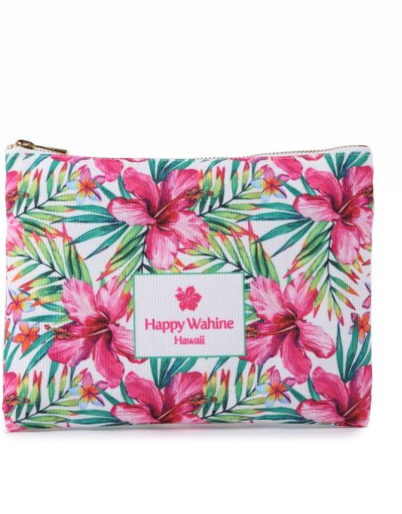 Everyday Hawaii Everyday HI Flat Pouch Watercolor Hibiscus