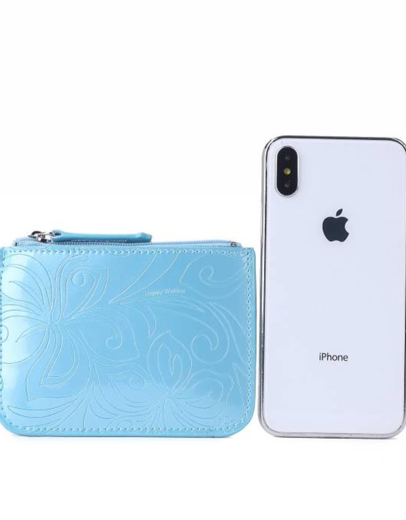 Happy Wahine Card Case May Hibiscus Light Blue