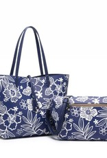 Happy Wahine Rev Tote Nancy Hibiscus Blossom Blue Large