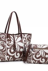 Happy Wahine Rev Tote Nancy Tapa Tiare Brown Large