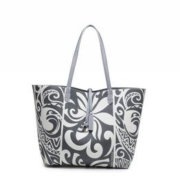 Happy Wahine Rev Tote Nancy Tapa Tiare Grey Large