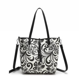 Happy Wahine Rev Tote Nancy Hibiscus Black Small