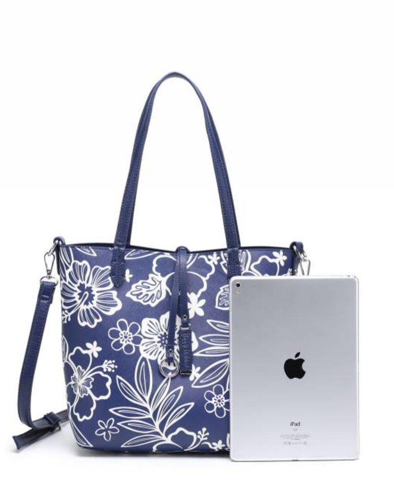 Happy Wahine Rev Tote Nancy Hibiscus Blossom Blue Small