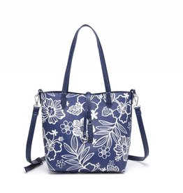 Rev Tote Nancy Hibiscus Blossom Blue Small