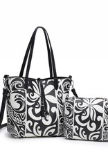 Happy Wahine Rev Tote Nancy Tapa Tiare Black Small