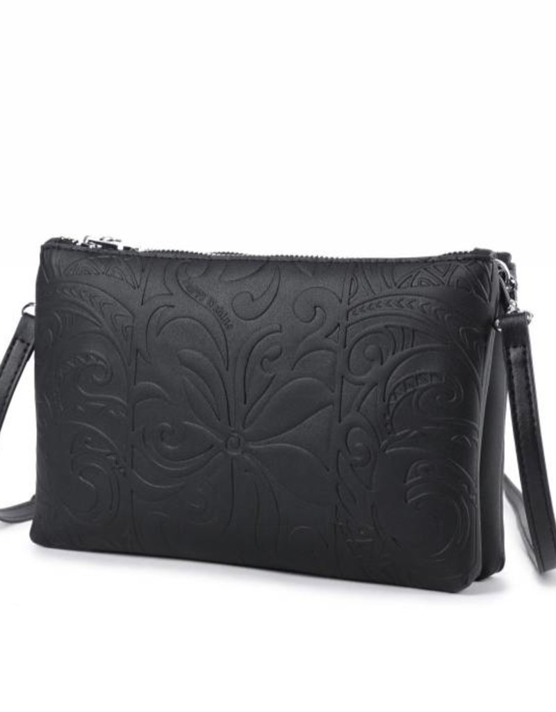 Happy Wahine Crossbody Marisa Tapa Tiare Black Embossed