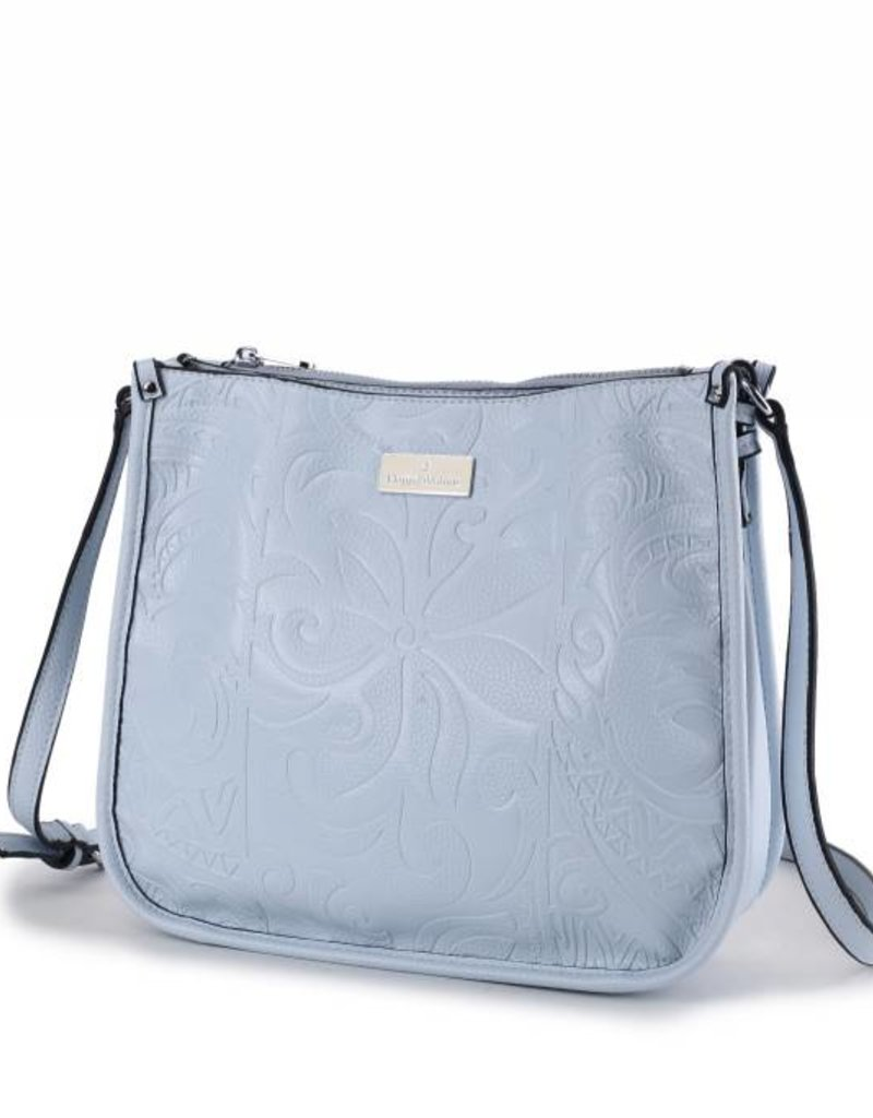 Happy Wahine Crossbody Emma Tapa Tiare Embossed Light Blue