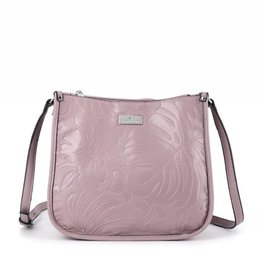Happy Wahine Crossbody Emma Monstera Orchid Embossed Light Purple