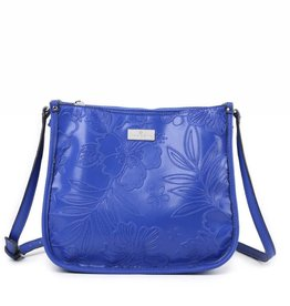Happy Wahine Crossbody Emma Hibiscus Blossom Embossed Blue