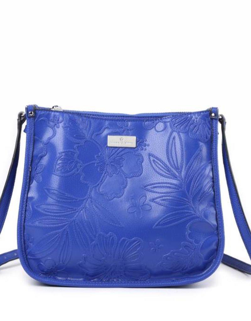 Crossbody Emma Hibiscus Blossom Embossed Blue