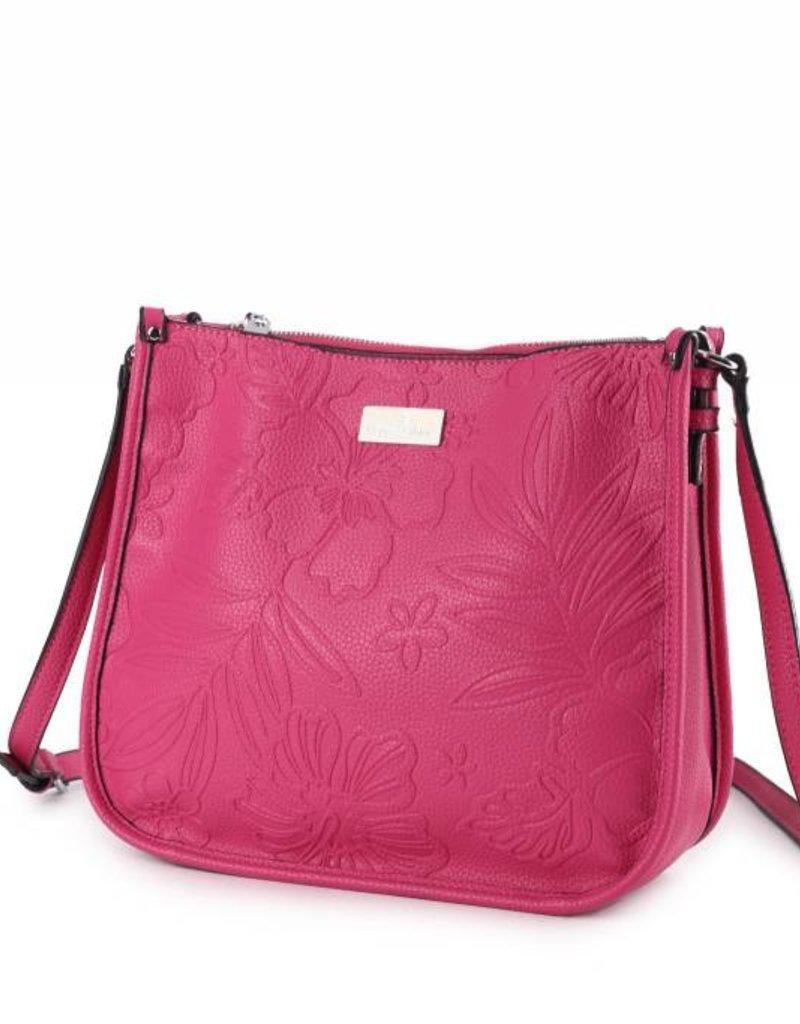 Crossbody Emma Hibiscus Blossom Embossed Pink