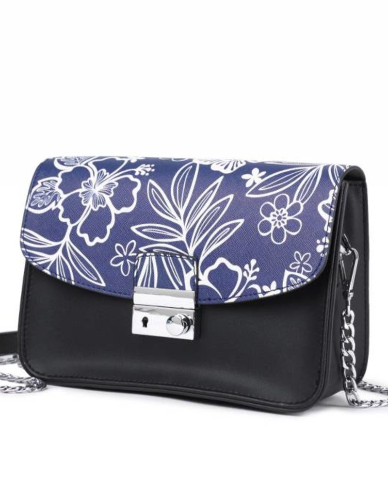 Happy Wahine Crossbody Janice Flap Hibiscus Blossom Blue