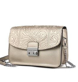 Happy Wahine Crossbody Janice Flap Monstera Embossed Gold