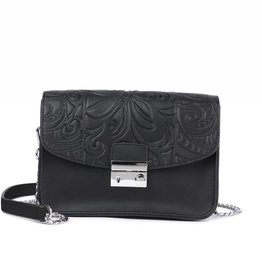 Happy Wahine Crossbody Janice Flap Tapa Tiare Embossed Black