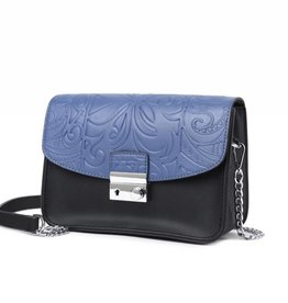 Happy Wahine Crossbody Janice Flap Tapa Tiare Embossed Blue