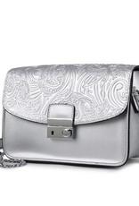 Happy Wahine Crossbody Janice Flap Hibiscus Embossed Silver