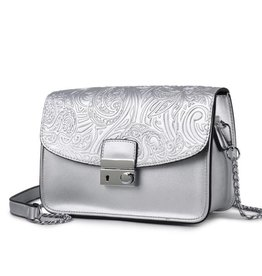 Happy Wahine Crossbody Janice Flap Hibiscus Embossed Silver