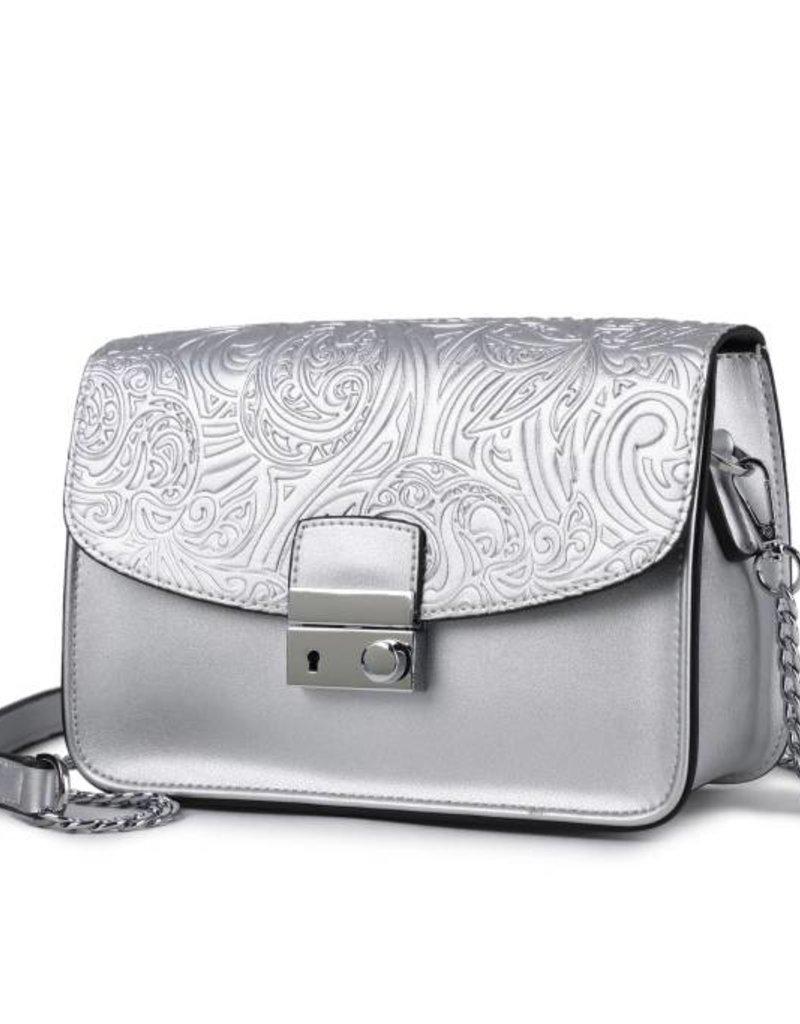Crossbody Janice Flap Hibiscus Embossed Silver