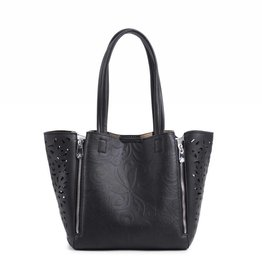 Happy Wahine Handbag Amy Tapa Tiare Embossed Black Small