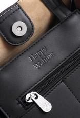Happy Wahine Handbag Amy Tapa Tiare Embossed Black Small