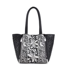 Happy Wahine Handbag Amy Tapa Tiare Black Small