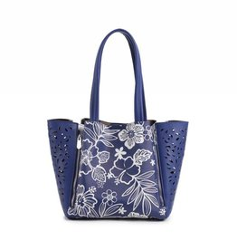 Handbag Amy Hibiscus Blossom Blue Small