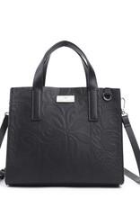 Happy Wahine Handbag Katelyn Tapa Tiare Embossed Black