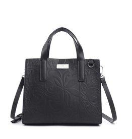 Happy Wahine Handbag Katelyn Tapa Tiare Embossed Black