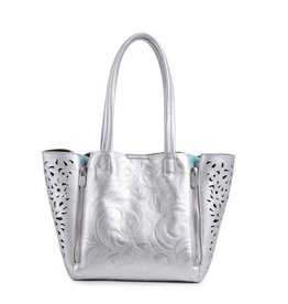 Happy Wahine Handbag Amy Hibiscus Silver Embossed Small