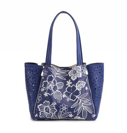 Handbag Amy Hibiscus Blossom Blue Large