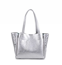 Happy Wahine Handbag Amy Hibiscus Silver Embossed Large
