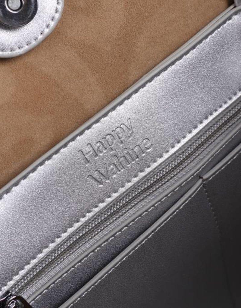 Handbag Amy Hibiscus Silver Embossed Large