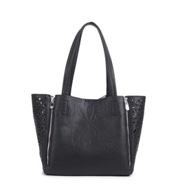Happy Wahine Handbag Amy Tapa Tiare Black Embossed Large
