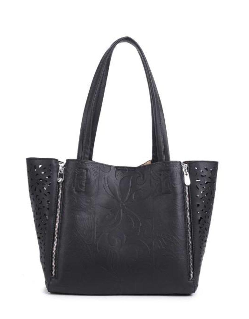 Happy Wahine Handbag Amy Tapa Tiare Black Embossed Large
