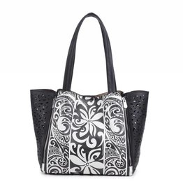 Happy Wahine Handbag Amy Tapa Tiare Black Large