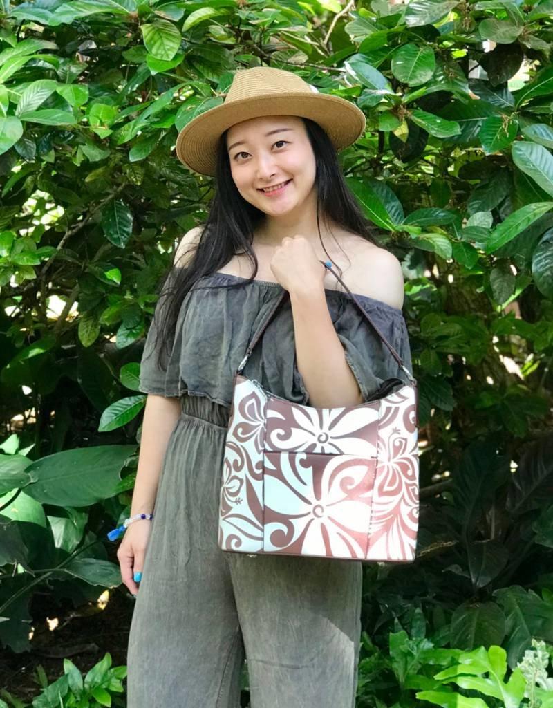 57ec3e0414a2 Hobo Bag Sara Tapa Tiare Brown - Happy Wahine